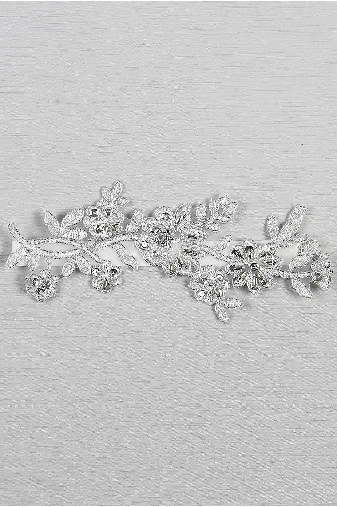 Metallic Applique Garter with Silver Detail - Add intricate detail to your wedding ensemble with