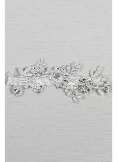 Metallic Applique Garter with Silver Detail - Wedding Accessories