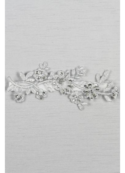 Grey (Metallic Applique Garter with Silver Detail)