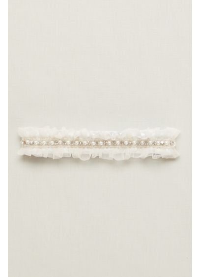 Ginger Pearl Garter with Ruffled Organza - Wedding Accessories