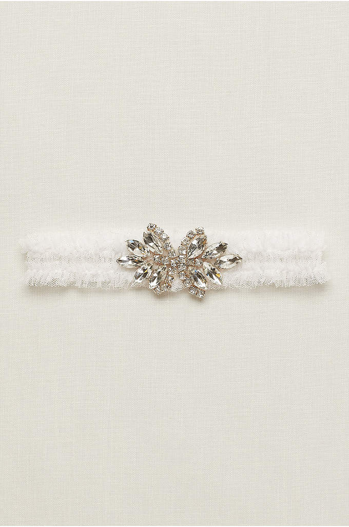 Olive Organza Garter with Crystal - Add a vintage-inspired element to your bridal style