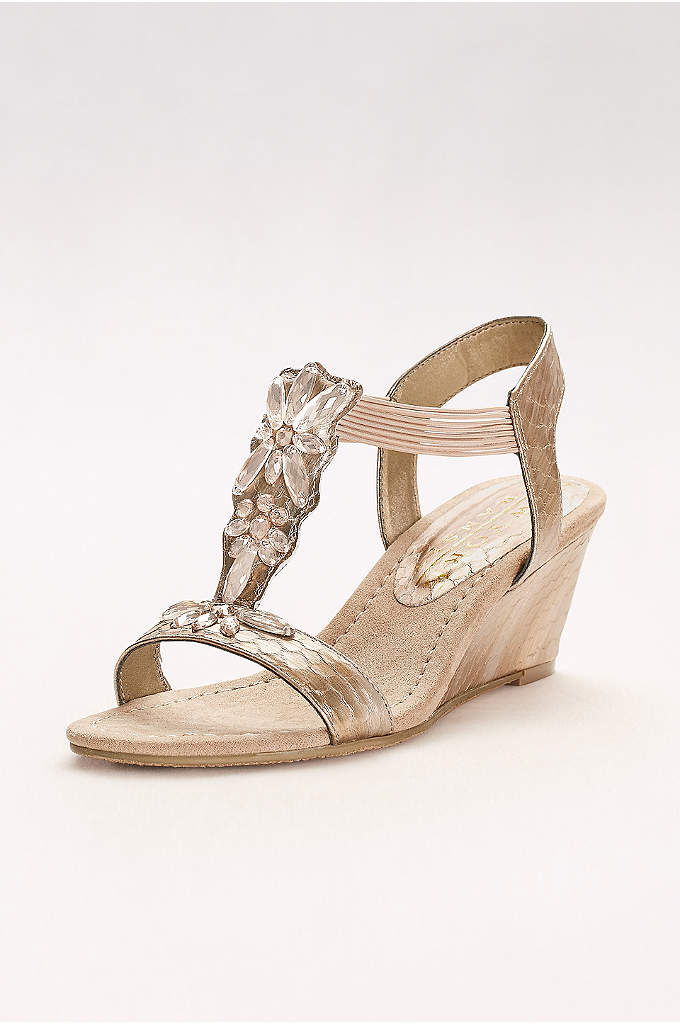 Embossed T-Strap Wedges with Iridescent Gems - These gem-topped T-strap wedges are finished with elastic