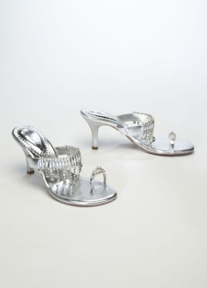 Metallic Cascade Crystal Sandal with Toe Ring GYPSY