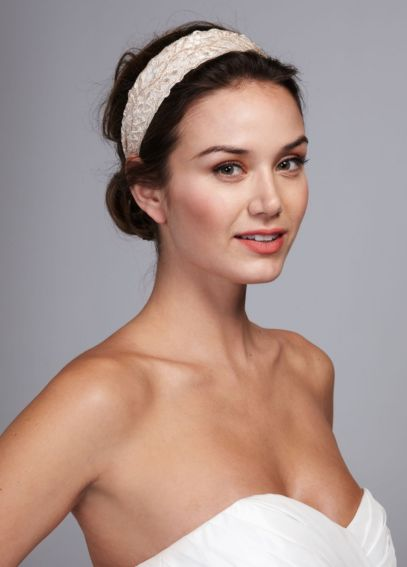 Wide Lace and Lurex Headband H00882
