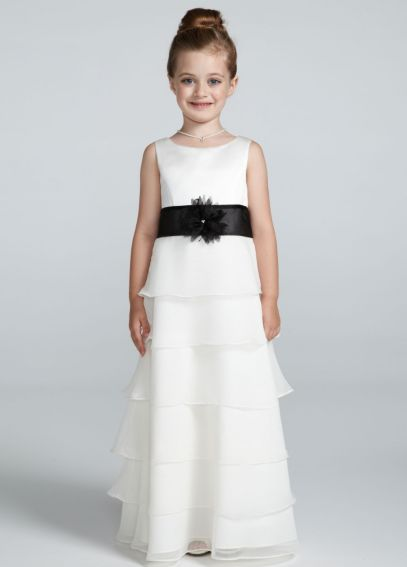 Tank Organza Tiered Chiffon Flower Girl Dress H1142