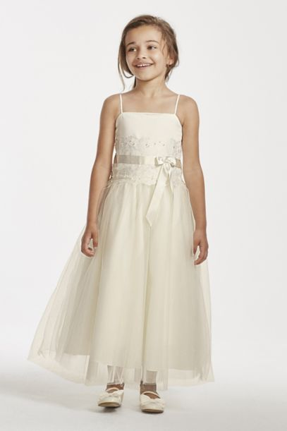 Flower Girl Lace and Tulle Spaghetti Strap Dress | David's Bridal
