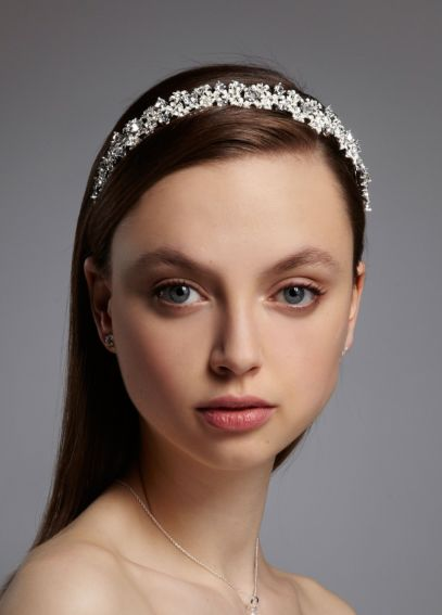 Metal Floral Cluster Headband with Rhinestones H11A256