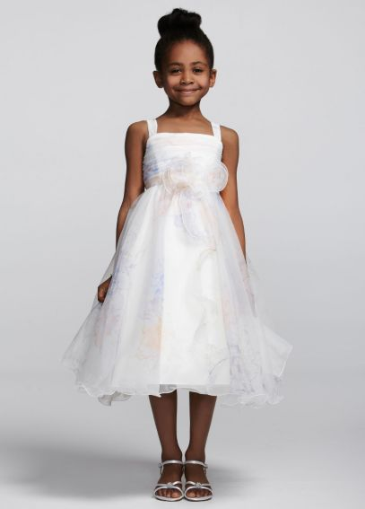 Tea-Length Organza Dress with 3D Flower and Ruffle H1270P