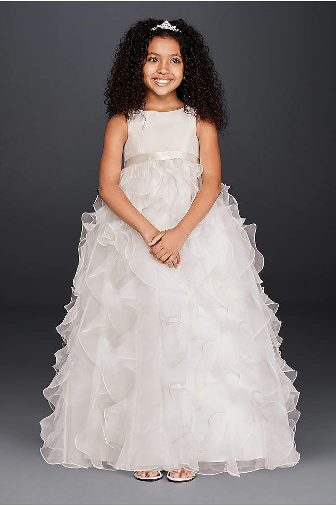 Organza Flower Girl Dress with Ruffled Skirt - Adorable organza dress is absolutely precious for your