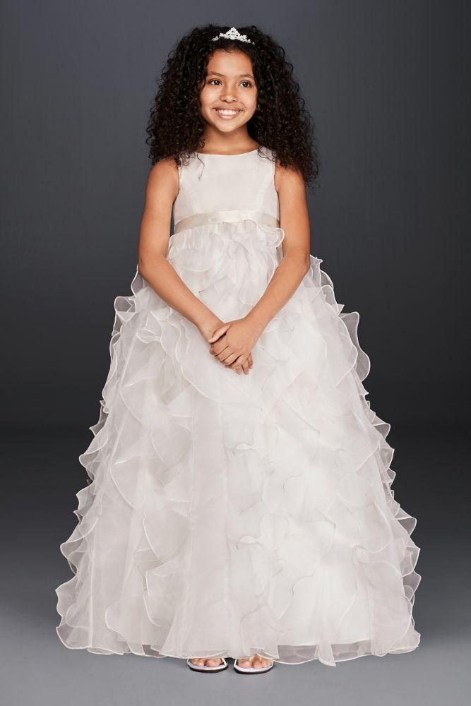 Flower Girl Dresses Davids Bridal White : Organza flower girl dress with ruffled skirt style h