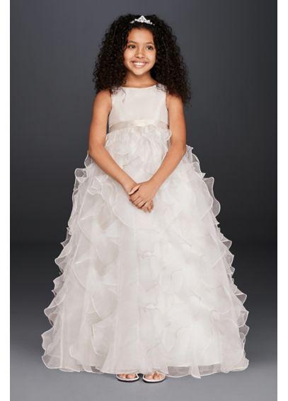 Organza Flower Girl Dress With Ruffled Skirt Davids Bridal