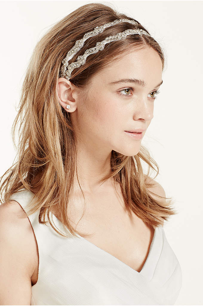 Crystal Embroidered Two Row Headband - This crystal embroidered two row headband is both
