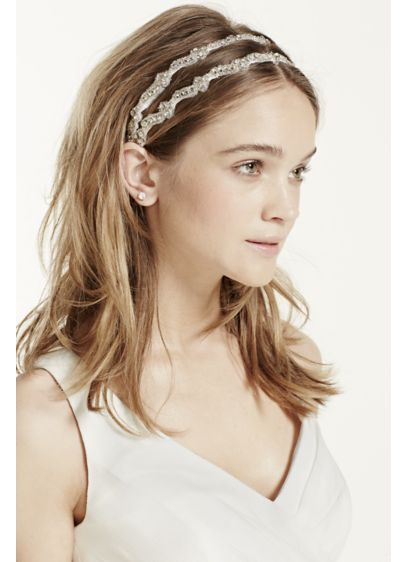 Crystal Embroidered Two Row Headband - Wedding Accessories