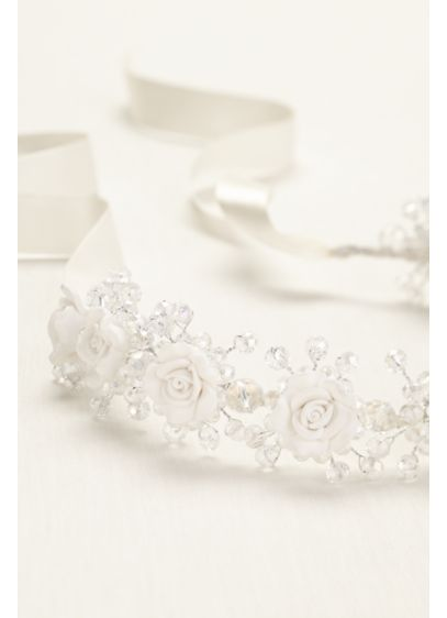 Porcelain and Beaded Flower Girl Wreath - Wedding Accessories