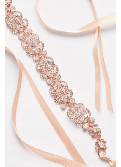 Filigree Crystal Double-Ribbon Sash - Wedding Accessories