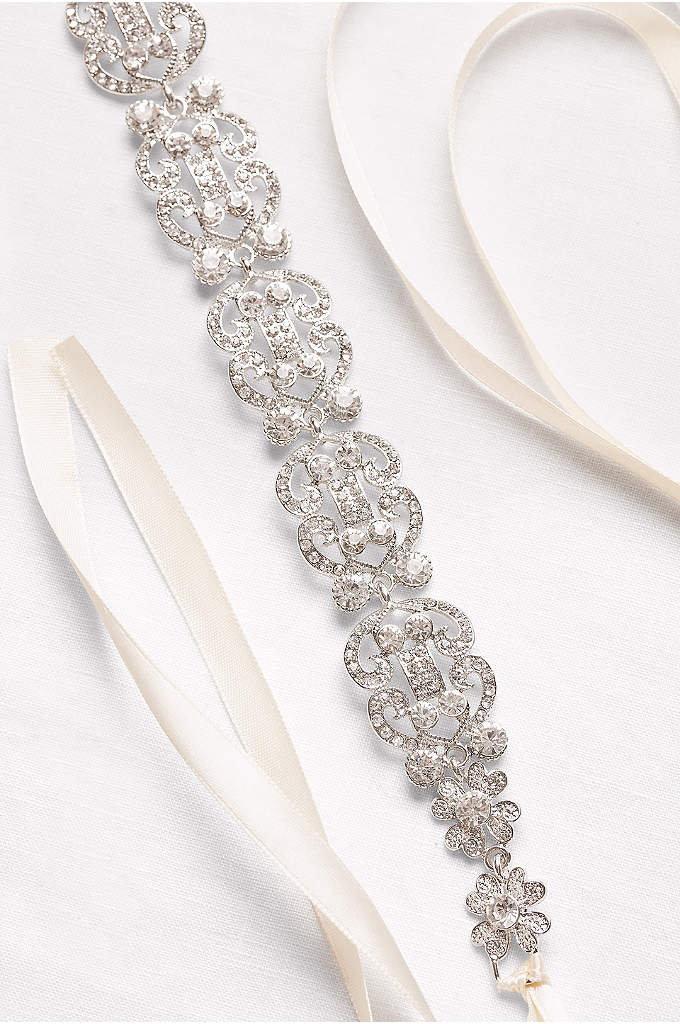Filigree Crystal Double-Ribbon Sash - Featuring crystal-studded filigree curves, this ornate sash is