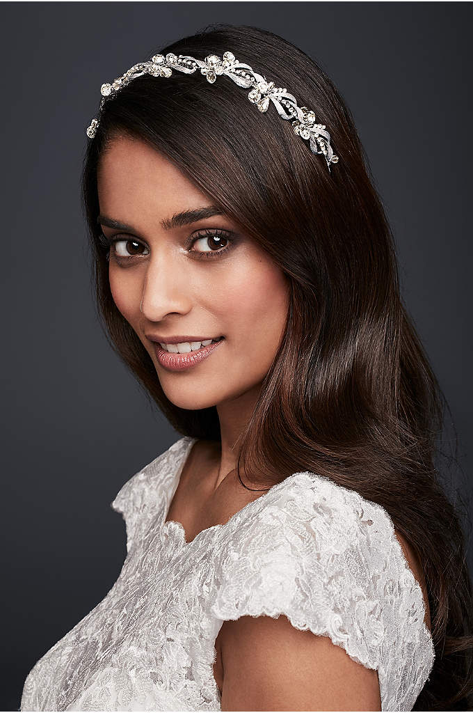 Vintage-Inspired Crystal Leaf Headband - This romantic headband feels like you found it