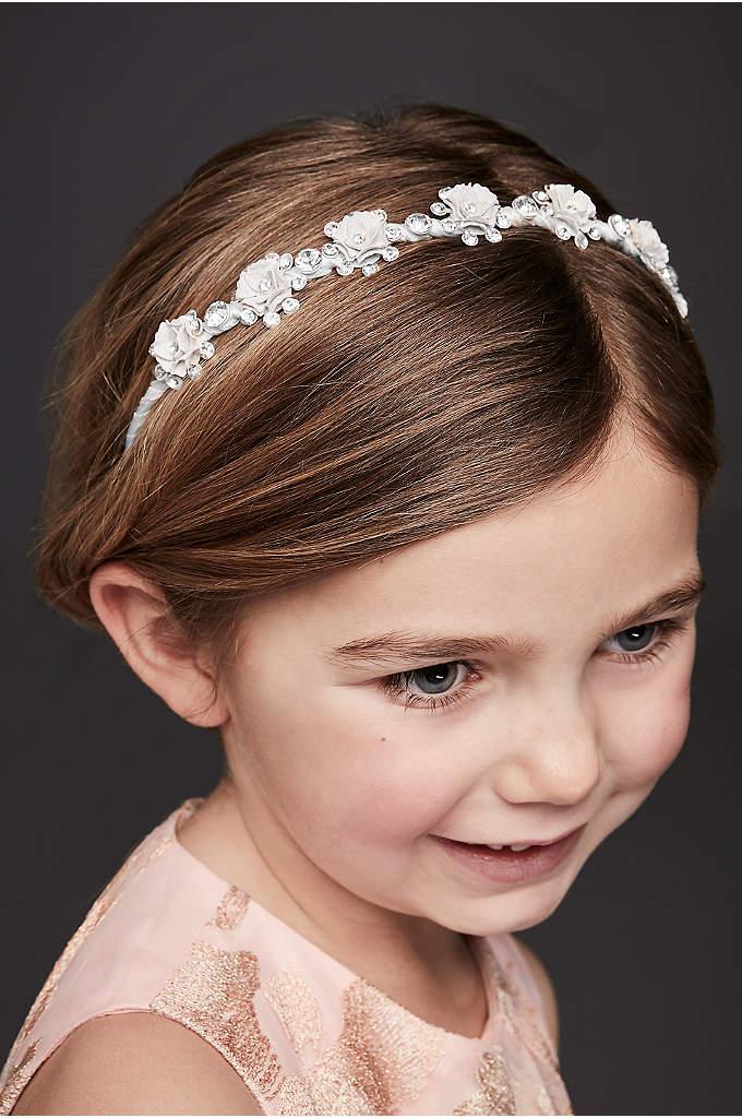Glitter and Rhinestone Rosette Flower Girl Headban - This satin-wrapped headband's pretty glitter and rhinestone rosebuds