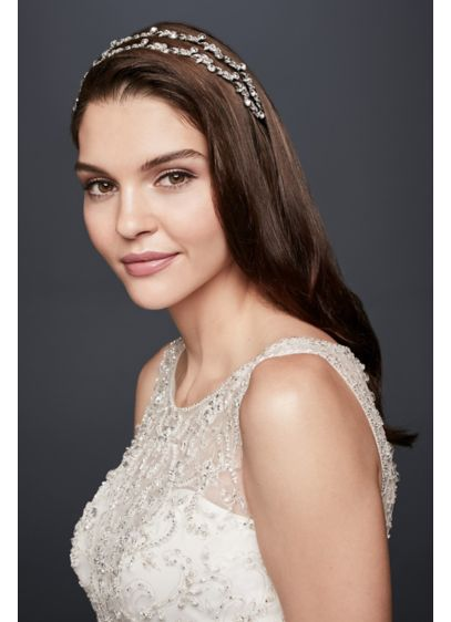 Double Row Crystal Leaf Headband - Wedding Accessories