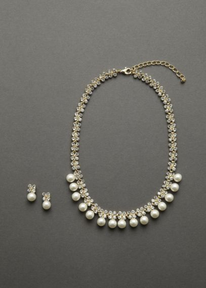 Pearl and Crystal Necklace and Earring Set H36736S01