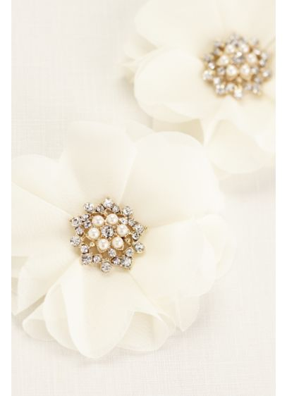Chiffon Flower Pearl Cluster Duo - Wedding Accessories