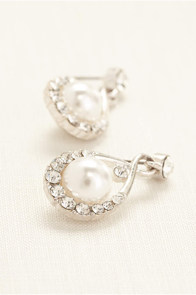 Crystal and Pearl Drop Earrings - These traditional pearl and crystal drop earrings will