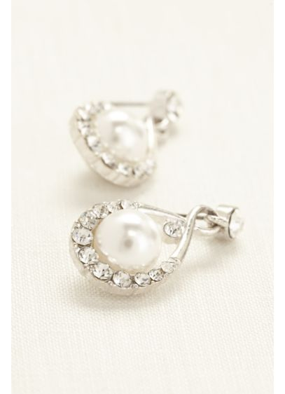 Crystal and Pearl Drop Earrings - Wedding Accessories