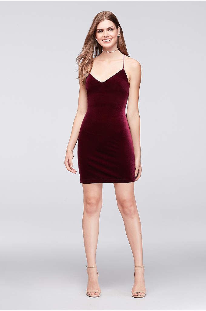 Deep V-Neck Velvet Mini Dress - Made of supple stretch velvet and finished with