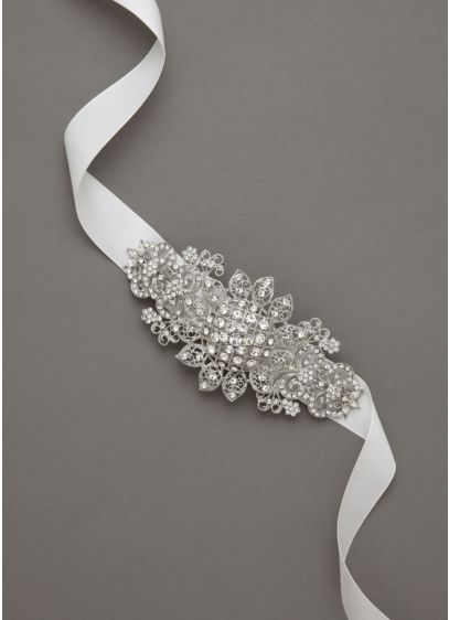 Ribbon Headband with Floral Rhodium Side Motif - Wedding Accessories