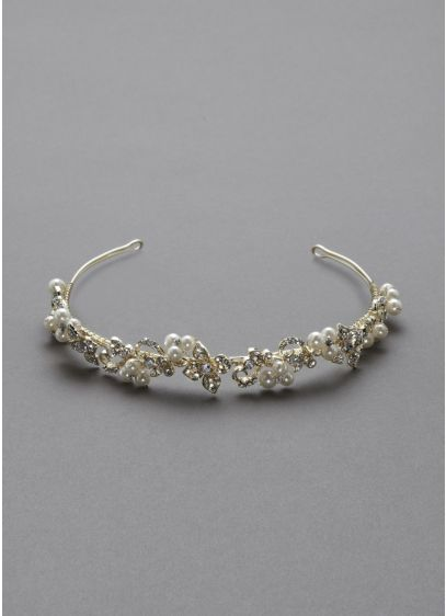 Crystal Floral and Pearl Cluster Headband - Wedding Accessories