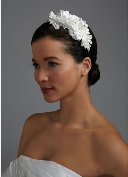 Floral Headband with Lace, Crystals, and Pearls - Wedding Accessories