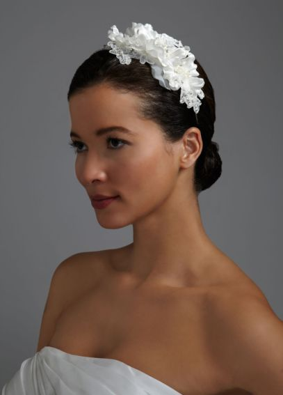 Floral Headband with Lace, Crystals, and Pearls H8118