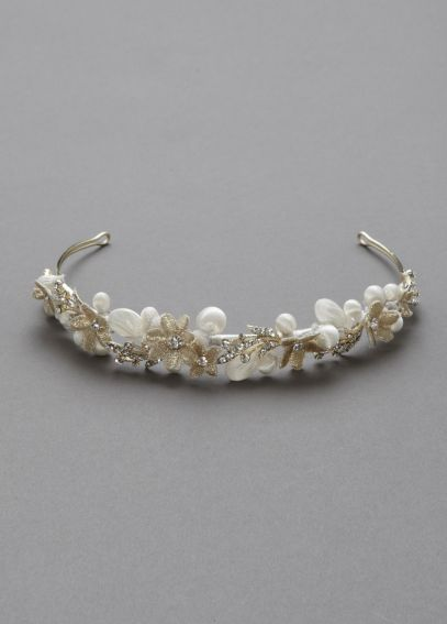 Embellished Headband with Flowers and Crystals H8129