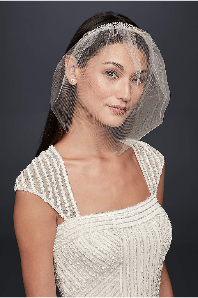 Crystal Headband with Tulle Blusher - A perfect all-in-one piece, this crystal headband and