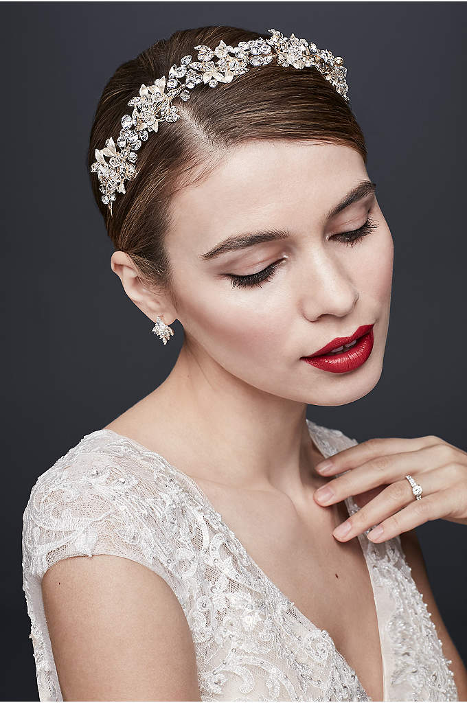 Crystal Petals and Clustered Leaves Headband - This fresh-from-the-meadow floral headpiece features metallic leaves and