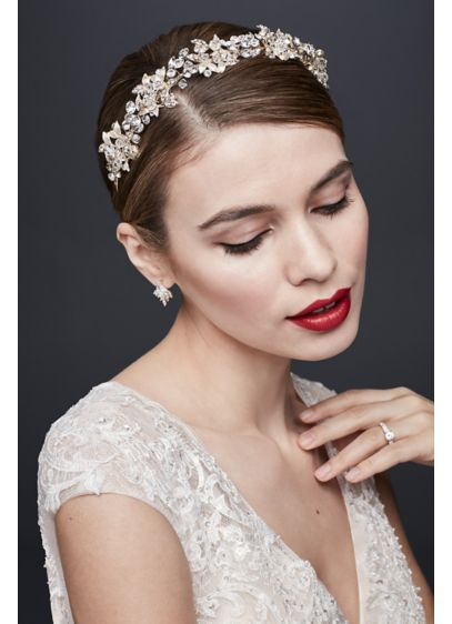 Crystal Petals and Clustered Leaves Headband - Wedding Accessories