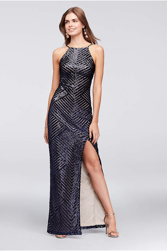 Chevron Sequined High-Neck Sheath Gown - Angled lines of tiny sequins create eye-catching pattern
