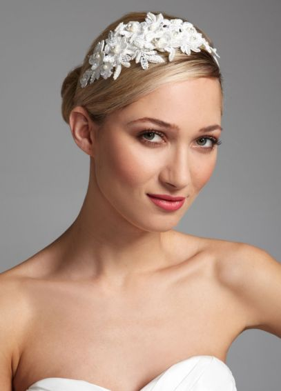 Lace Floral Headband with Pearl Accents H9030