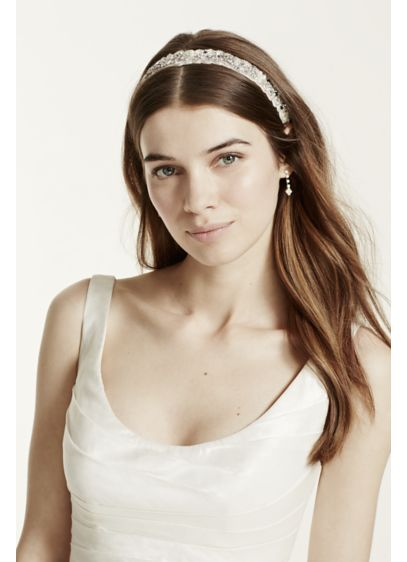 Crystal and Beaded Headband with Ribbon Tie - Wedding Accessories