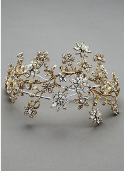Large Crystal Floral Headpiece - Wedding Accessories