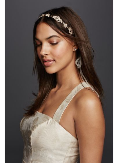 Etched Leaves and Rhinestone Tieback Headband - Wedding Accessories