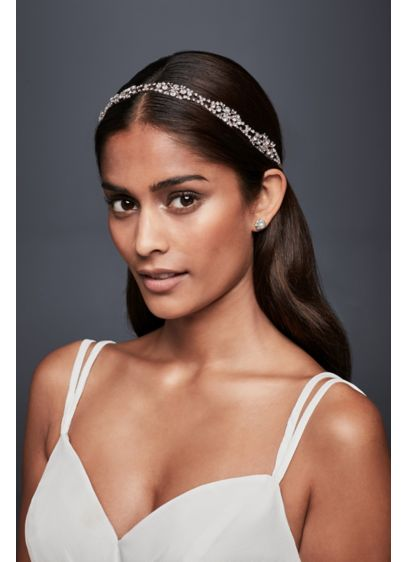 Crystal Cluster Pave Leaf Headband - Wedding Accessories