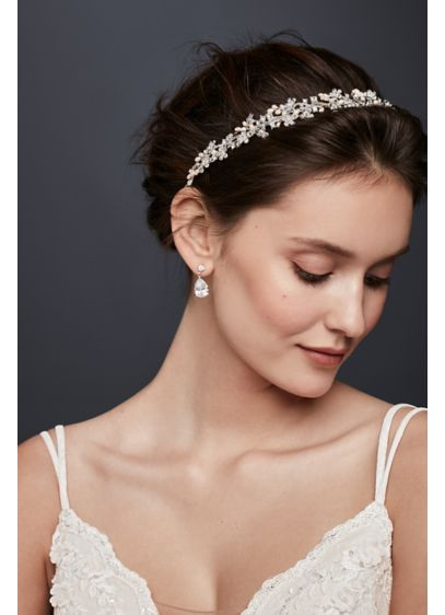 Pearl and Crystal Floral Ribbon Headband - Wedding Accessories