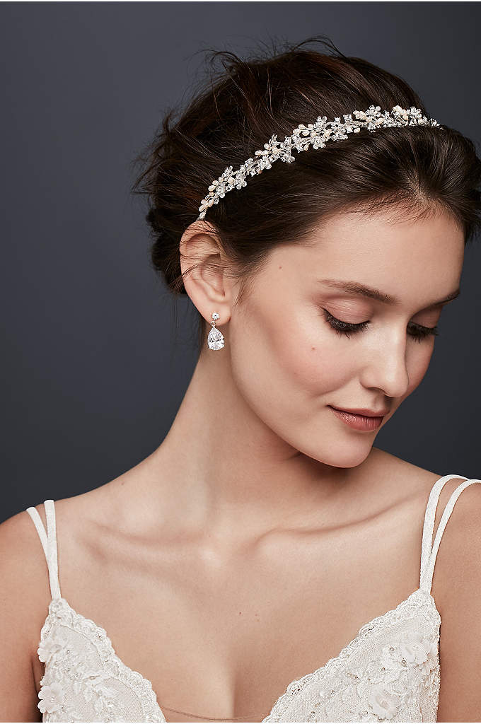 Pearl and Crystal Organza Ribbon Headband - Add some luster to your wedding day 'do