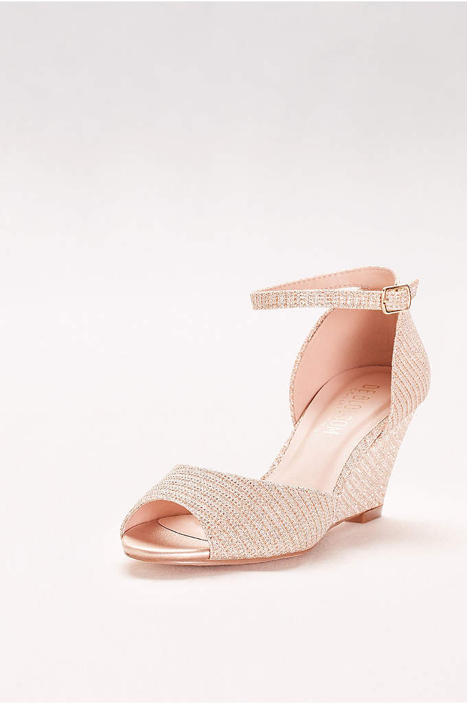 Textured Peep-Toe Wedges with Ankle Straps - Textured glitter fabric makes these simple mid-heel wedges