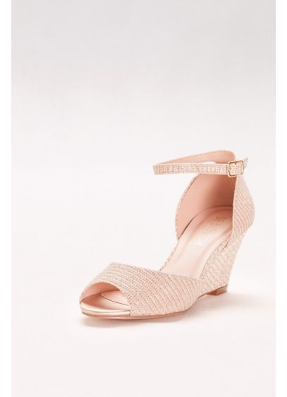 Blossom Ivory (Textured Peep-Toe Wedges with Ankle Straps)