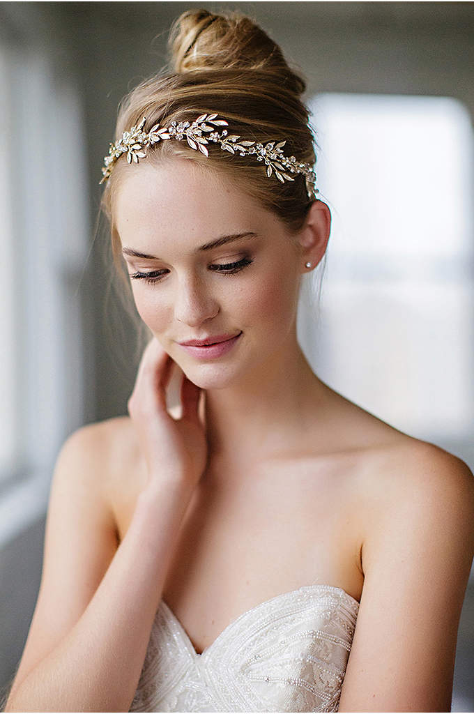 Fanning Leaves and Crystal Blooms Halo with Ribbon - Designed to be worn as either a headband