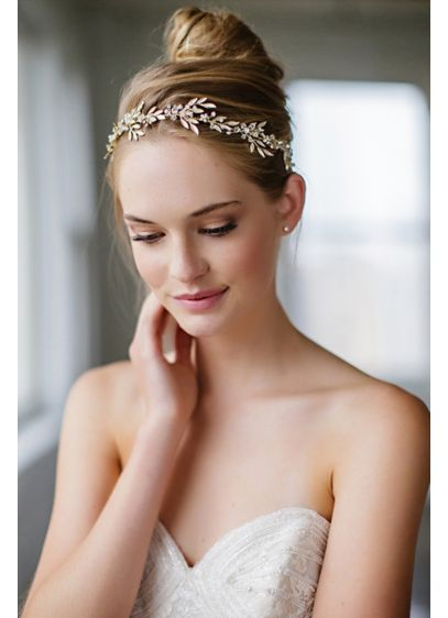 Fanning Leaves and Crystal Blooms Halo with Ribbon - Wedding Accessories