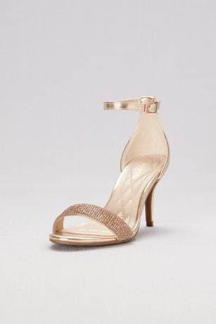 a7cefe45633 Metallic Ankle-Wrap Mid-Heels with Pave Straps