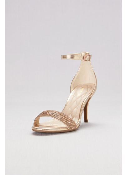 Bamboo Yellow (Metallic Ankle-Wrap Mid-Heels with Pave Straps)